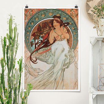 Produktfoto Poster - Alfons Mucha - Vier Künste - Die Musik - Hochformat 3-2 vergrößerte Ansicht in Wohnambiente Artikelnummer 249859-XWA