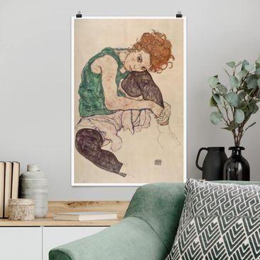 Produktfoto Poster - Egon Schiele - Sitzende Frau mit hochgezogenem Knie - Hochformat 3-2 Material matt Artikelnummer 249886-CU