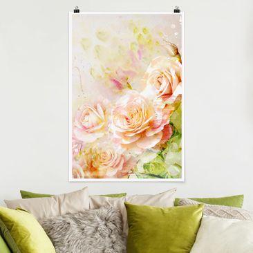 Produktfoto Poster - Aquarell Rosen Komposition - Hochformat 3-2 vergrößerte Ansicht in Wohnambiente Artikelnummer 249957-XWA