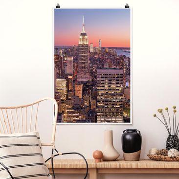 Produktfoto Poster - Sonnenuntergang Manhattan New York City - Hochformat 3-2 Material matt Artikelnummer 250010-CU
