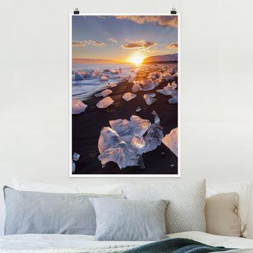 Produktfoto Poster - Eisbrocken am Strand Island - Hochformat 3-2 Material matt Artikelnummer 250018-CU