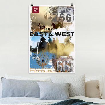 Produktfoto Poster - Route 66 - Collage Mother Road - Hochformat 3-2 vergrößerte Ansicht in Wohnambiente Artikelnummer 250032-XWA