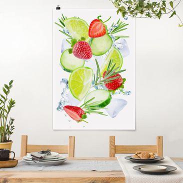 Immagine del prodotto Poster - Fragole Lime Ice Cubes Splash - Verticale 3:2