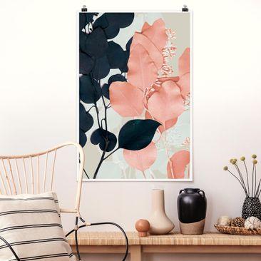 Produktfoto Poster - Blätter Indigo & Rouge I - Hochformat 3-2 vergrößerte Ansicht in Wohnambiente Artikelnummer 250068-XWA
