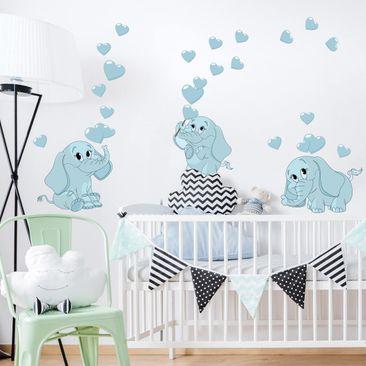 Immagine del prodotto Adesivo murale bambini - Tre elefantini blu con cuori