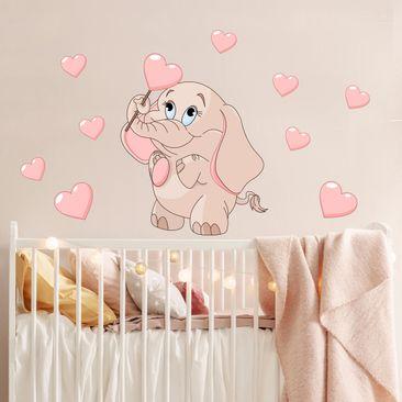 Immagine del prodotto Adesivo murale bambini - Baby elefantino rosa con cuori