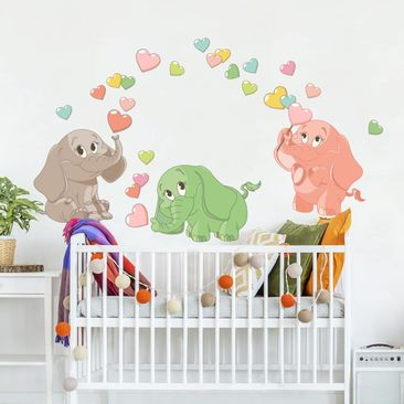 Product picture Wall Sticker - Rainbow Babies Elephants...