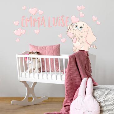 Immagine del prodotto Adesivo murale bambini - Elefantina rosa con cuori e nome personalizzato