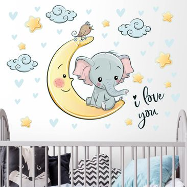 Produktfoto Wandtattoo - Elefant Mond I love You