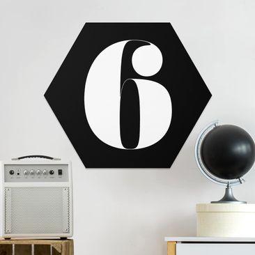 Produktfoto Hexagon Bild Forex - Antiqua Zahl 6 vergrößerte Ansicht in Wohnambiente Artikelnummer 250769-XWA