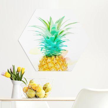 Produktfoto Hexagon Bild Forex - Ananas Aquarell vergrößerte Ansicht in Wohnambiente Artikelnummer 250770-XWA