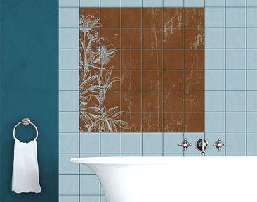 Produktfoto Tile Mural Blue Flowers Sketch