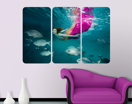 Produktfoto Selbstklebendes Wandbild Underwater Beauty Triptychon I