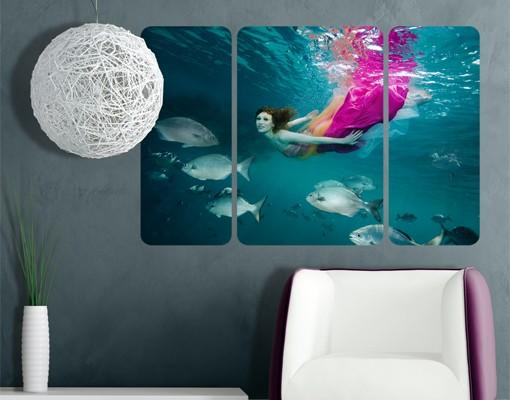 Produktfoto Selbstklebendes Wandbild Underwater Beauty Triptychon II