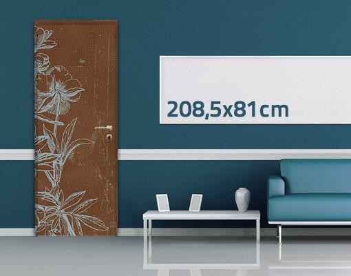 Produktfoto Türtapete Blumen selbstklebend -  Blaue Blumenskizze
