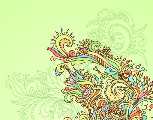 Produktfoto Selbstklebendes Wandbild Florale Illustration Triptychon I