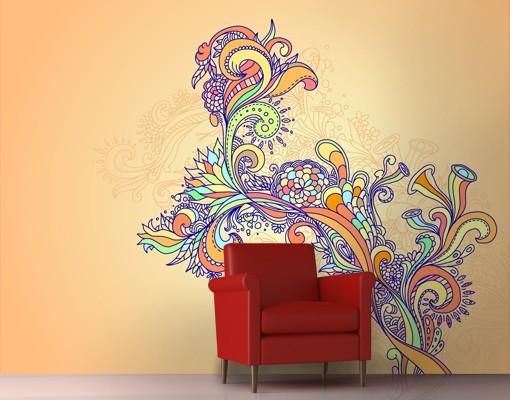 Produktfoto Blumen Mustertapete selbstklebend - Sommerillustration