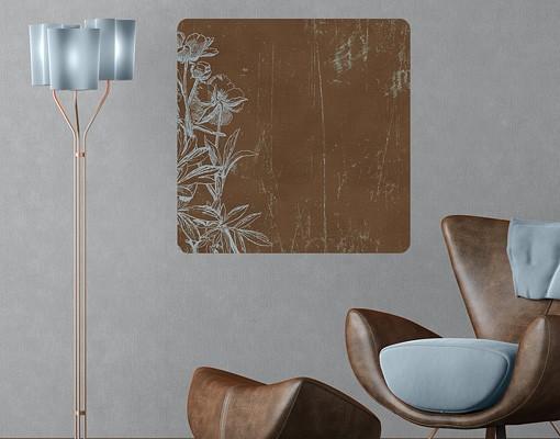Produktfoto Selbstklebendes Wandbild Blaue Blumenskizze