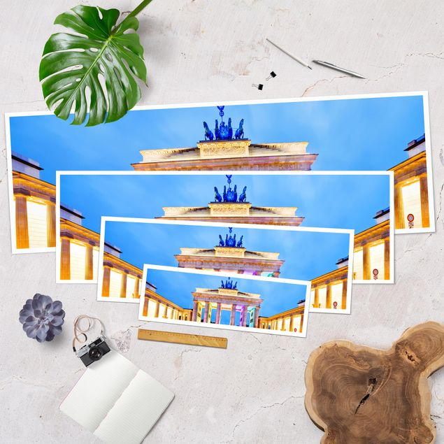 Produktfoto Poster - Erleuchtetes Brandenburger Tor - Panorama Querformat