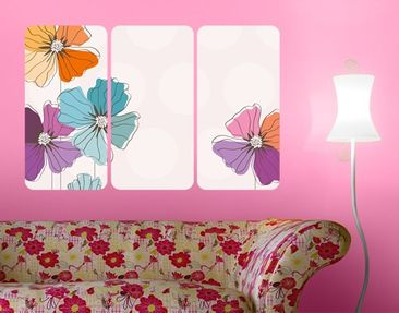 Product picture Wall Mural Poppies In Pastel Triptych I