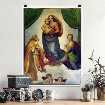 Produktfoto Poster - Raffael - Die Sixtinische Madonna - Hochformat 4-3 vergrößerte Ansicht in Wohnambiente Artikelnummer 253467-XWA