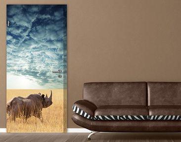 Produktfoto Türtapete Afrika selbstklebend - Nashorn in der Savanne