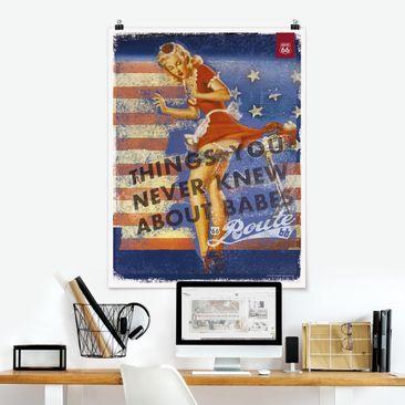 Produktfoto Poster - Route 66 - Pin-Up Babe - Hochformat 4:3