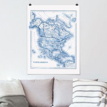 Produktfoto Poster - Karte in Blautönen - Nordamerika - Hochformat 4:3