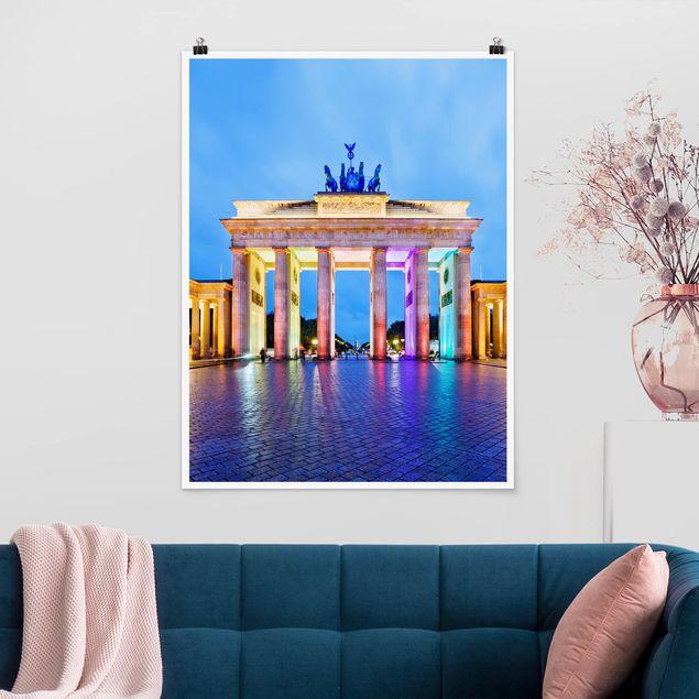 Produktfoto Poster - Erleuchtetes Brandenburger Tor - Hochformat 4:3
