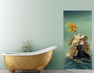 Produktfoto Door Photo Wall Mural Kiss Of A Goldfish