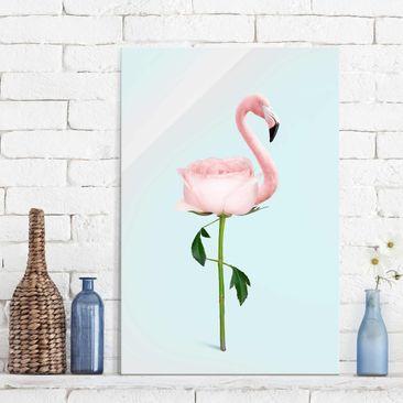 Produktfoto Glasbild - Jonas Loose - Flamingo mit Rose - Hochformat 3:2