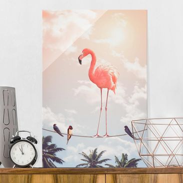 Produktfoto Glasbild - Jonas Loose - Himmel mit Flamingo - Hochformat 3:2