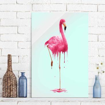 Produktfoto Glasbild - Jonas Loose - Schmelzender Flamingo - Hochformat 3:2