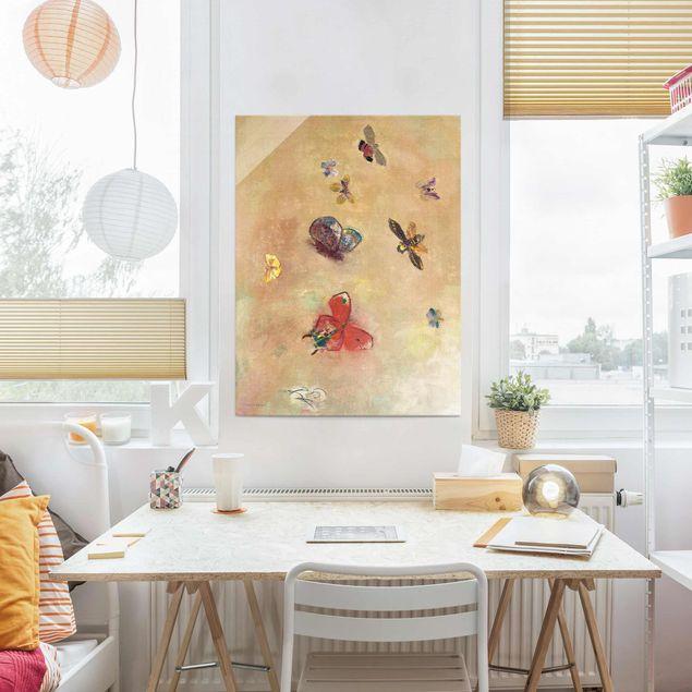 Produktfoto Glasbild - Odilon Redon - Bunte Schmetterlinge - Hochformat 4:3