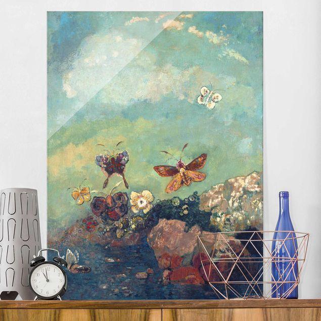 Produktfoto Glasbild - Odilon Redon - Schmetterlinge - Hochformat 4:3
