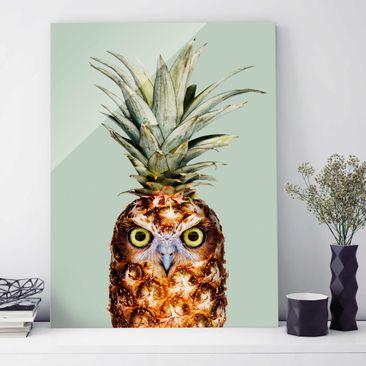 Produktfoto Glasbild - Jonas Loose - Ananas mit Eule - Hochformat 4:3