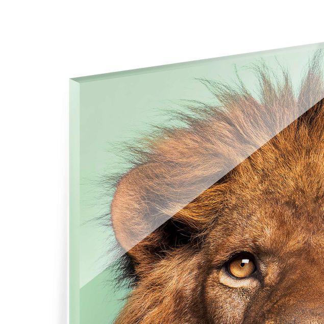 Produktfoto Glasbild - Jonas Loose - Löwe mit Bart - Hochformat 4:3