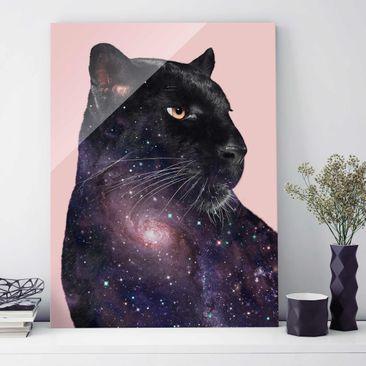 Produktfoto Glasbild - Jonas Loose - Panther mit Galaxie - Hochformat 4:3