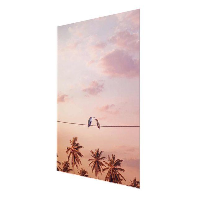 Produktfoto Glasbild - Jonas Loose - Sonnenuntergang mit Kolibris - Hochformat 4:3