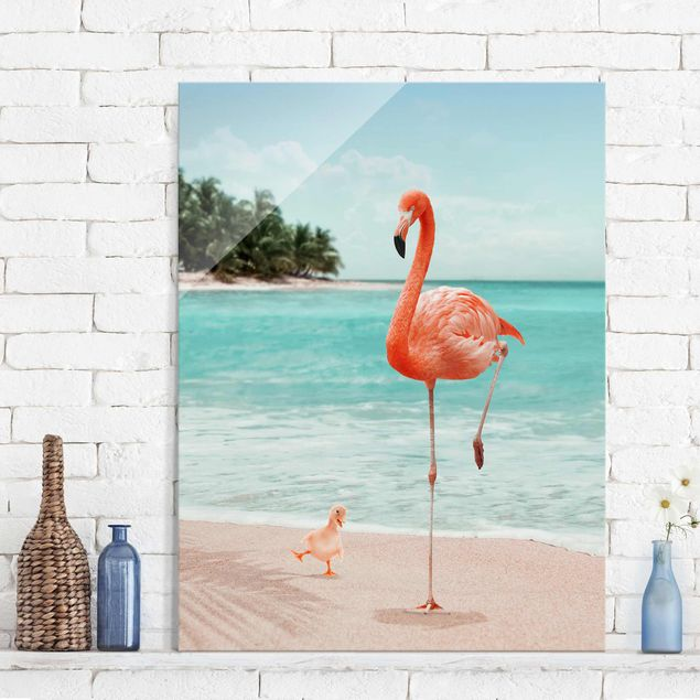 Produktfoto Glasbild - Jonas Loose - Strand mit Flamingo - Hochformat 4:3