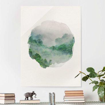 Produktfoto Glasbild - Wasserfarben - Dschungel im Nebel - Hochformat 4:3