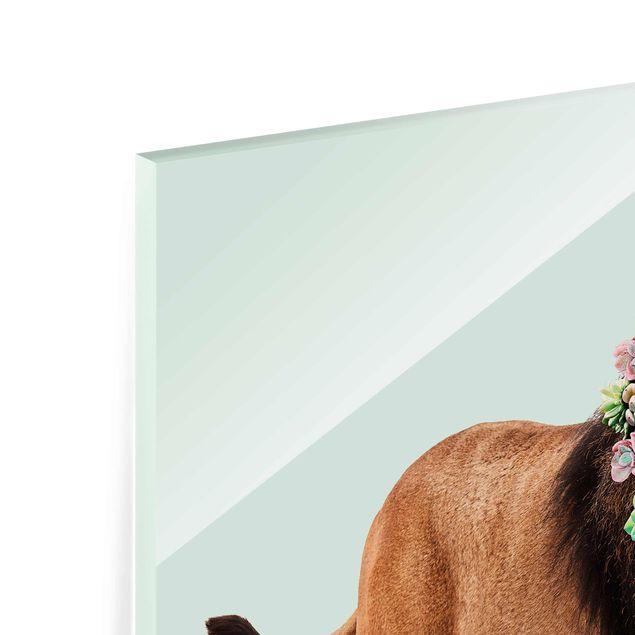 Produktfoto Glasbild - Jonas Loose - Löwe mit Sukkulenten - Quadrat 1:1