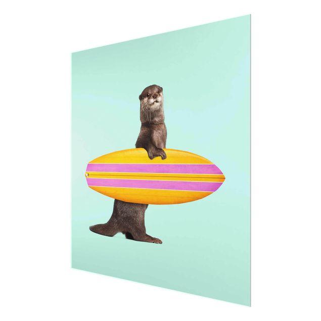 Produktfoto Glasbild - Jonas Loose - Otter mit Surfbrett - Quadrat 1:1