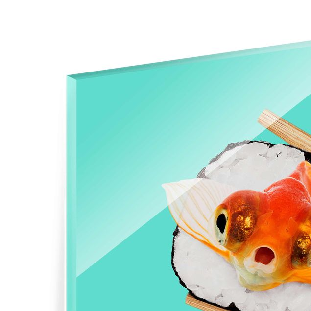 Produktfoto Glasbild - Jonas Loose - Sushi mit Goldfisch - Quadrat 1:1