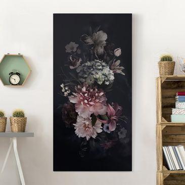 Produktfoto Leinwandbild - Blumen mit Nebel auf Schwarz - Hochformat 2-1 vergrößerte Ansicht in Wohnambiente Artikelnummer 255272-XWA