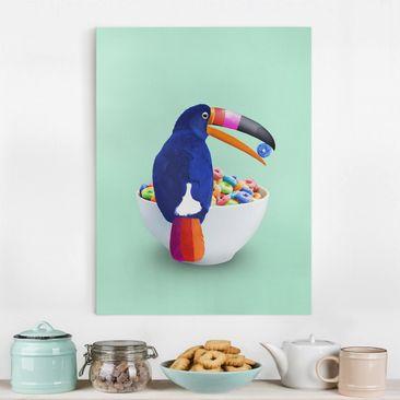 Produktfoto Leinwandbild - Jonas Loose - Frühstück mit Tukan - Hochformat 4-3 vergrößerte Ansicht in Wohnambiente Artikelnummer 255431-XWA