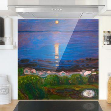 Produktfoto Spritzschutz Glas - Edvard Munch - Sommernacht am Meeresstrand - Quadrat 1:1