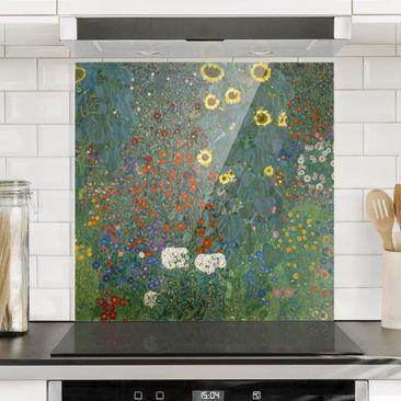 Produktfoto Spritzschutz Glas - Gustav Klimt - Garten Sonnenblumen - Quadrat 1:1