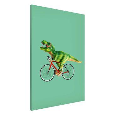 Produktfoto Magnettafel - Jonas Loose - Dinosaurier mit Fahrrad - Memoboard Hochformat 3:2