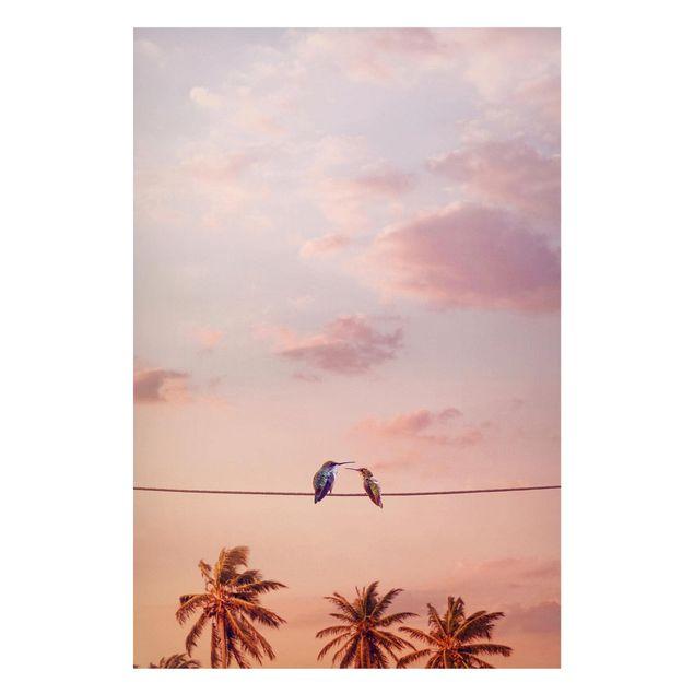 Produktfoto Magnettafel - Jonas Loose - Sonnenuntergang mit Kolibris - Memoboard Hochformat 3:2